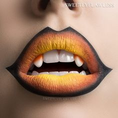 WEBSTA @sweetlyflawless Unleash your inner sweet tooth!  We're kicking this Halloween season off with some candy corn lip art I created using @JeffreeStarCosmetics #lipcolorsfall