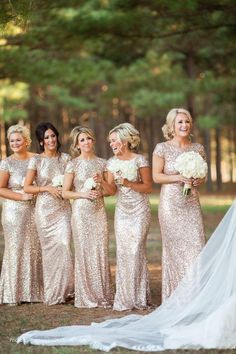 2015 High Fashion Gold Sequin Long Bridesmaid Dresses Cap Sleeves Sheath Maid Of Honor Wedding Party Gowns Floor Length Bling Evening GownZC, $104.72 | DHgate.com