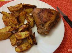 Sült farrészes csirkecomb, sütőben sült fűszeres burgonyával Pork, Losing Weight, Kale Stir Fry, Pork Chops