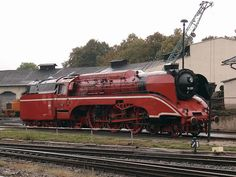 German high-speed steam locomotive, number 18 on at the former Nossen locomotive depot in red livery Diesel, Time Travel Machine, Old Steam Train, Rail Transport, Train Times, Train Art, Old Trains, Train Pictures, Train Engines