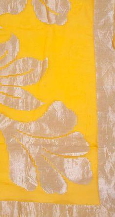 Yellow handwoven georgette silk dupatta by EKAYA. Shop at http://www.perniaspopupshop.com/whats-new/ekaya-10