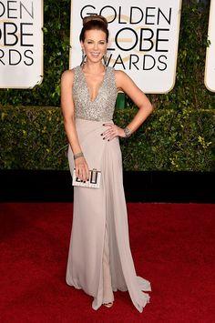 Kate Beckinsale at the 2015 Golden Globes. Dress by Elie Saab.