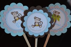 It's A Boy Monkey Cupcake Toppers  Monkey by SweetEPaperBoutique