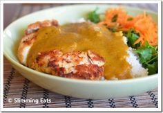 Slimming Eats Chicken Katsu Curry - dairy free, Slimming World and Weight Watchers friendly Yummy Recipes, Skinny Recipes, Indian Food Recipes, Diet Recipes, Cooking Recipes, Healthy Recipes, Healthy Foods, Chicken Recipes, Healthy Eating