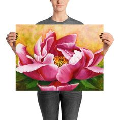 Oil Painting Flowers, Painting Prints, Art Prints, Peony Flower, Flower Art, Realistic Flower Drawing, Arte Hip Hop, Oil Pastel Art, Flower Canvas