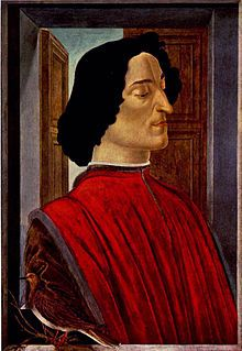 "Giuliano de' Medici - (1453 – April 26, 1478) was the second son of Piero de' Medici and Lucrezia Tornabuoni. As co-ruler of Florence, with his brother Lorenzo the Magnificent, he complemented his brother's image as the ""patron of the arts"" with his own image as the handsome, sporting, ""golden boy."""