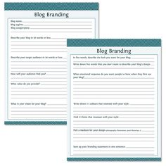 Blog Branding Questions Fillable Instant by OrganizeLife on Etsy