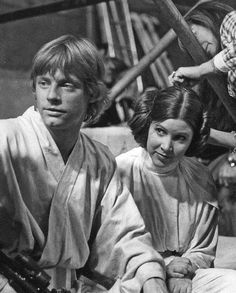 Star Wars behind the scenes BTS - Mark Hamill (Luke Skywalker) and Carrie Fisher (Princess Leia)