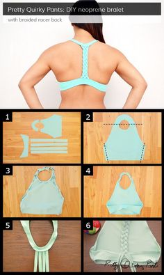 Instruction Layout - braided racer back bralet. Would totally do this as a sports bra. Sewing Hacks, Sewing Tutorials, Sewing Projects, Sewing Crafts, Clothing Patterns, Sewing Patterns, T-shirt Und Jeans, Diy Vetement, Creation Couture