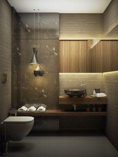 Elegant bathroom design in contemporary style design by Gonye Tasarim.