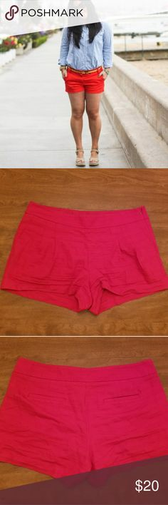 """Shorts EUC red cotton shorts size 12, by J. Crew. Worn a handful of times, slight pilling as shown on last picture. Inseam about 3"""" from a pet friendly home. J. Crew Shorts"""