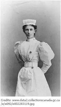 First head nurse of Canadian Contingent to Boer War Georgina Pope wears possibly her nurse uniform from Bellevue Hospital, New York, on 1898.