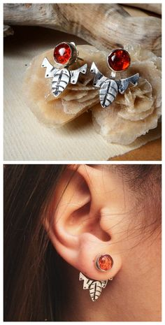 Leaf Ear Jackets with Baltic Amber by Alice Savage. Bohemian hippie festival jewelry, handmade. Shop at www.alicesavage.eu