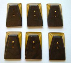 6 Vintage Apple Juice & Black Art Deco Bakelite (Tested) Buttons