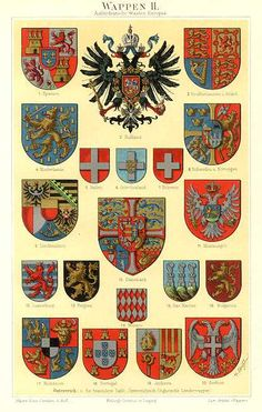 COAT OF ARMS OF EUROPEAN COUNTRIES, WAPPEN,1894 Original Antique Chromolithograph