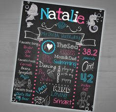 Mermaid Theme Printable Chalkboard Sign - Milestone Stats Poster - Personalized - Pink and Blue - Summer - Photo Prop - 8x10 - 16x20