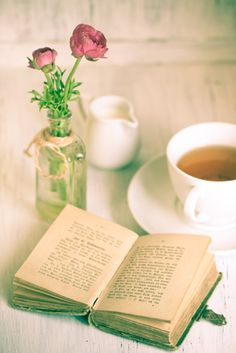 The gentle, wonderful serenity that comes from a warm cup of tea and an excellent book. #book #reading #tea