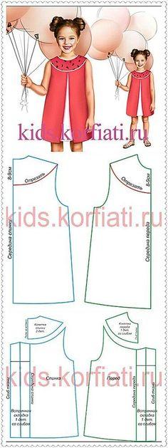 ARTE COM QUIANE - Paps e Moldes de Artesanato : Molde Vestido Infantil - Corte e costura