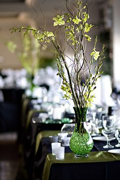 Black and Green Table setting