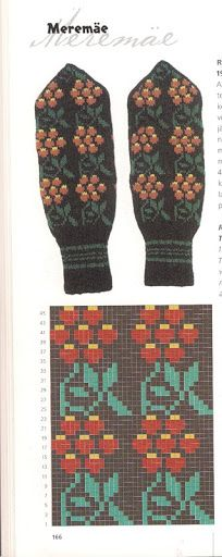 "Photo from album ""Варежки ))) схемы"" on Yandex. Crochet Mittens Free Pattern, Knit Mittens, Crochet Chart, Knitted Gloves, Knitting Charts, Loom Knitting, Knitting Socks, Hand Knitting, Knitting Patterns"