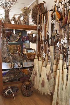 Witch Cupboard:  Organic Artist Tree Handcrafted #Brooms in Blue Ridge, Georgia, USA.