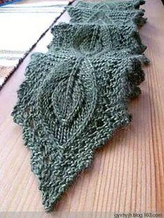 """棒针编织----漂亮的""""叶子""""小围巾"""