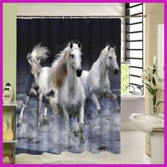 2016 Rideau De Douche New Waterproof Horse Shower Curtain Eco-friendly Washable Bath With Rings For Home Decor Drop Shipping