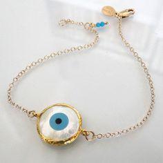 14K Gold Filled Lucky Evil Eye Bracelet - Celebrity Style Jewelry   theresamink - Jewelry on ArtFire