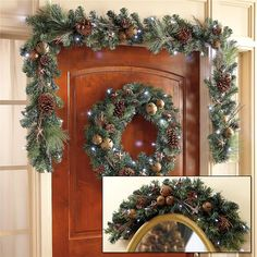 LED Christmas Wreath with Bells will hang beautifully on your front door! | Lillian Vernon