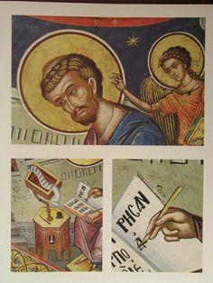 Teofan Cretanul – icoana Byzantine Icons, Fresco, Baseball Cards, Murals, Scriptures, Fresh, Wall Murals
