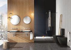 Banheiro sofisticado em preto e branco e madeira