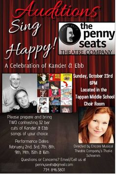 The Penny Seats Theatre Company is thrilled to announce open auditions for its upcoming show, Sing Happy!, a celebration of the work of the famed songwriting duo, John Kander and Fred Ebb. Kander …