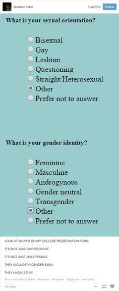 This college admissions form that got it right(except for the fact that trans isn't a gender): Faith In Humanity Restored, Genderqueer, Lgbt Community, My Tumblr, Equality, Saga, This Or That Questions, Awesome, Amazing