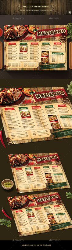 Mexican Menu Board - #Food #Menus Print #Templates Download here: https://graphicriver.net/item/mexican-menu-board/19538493?ref=alena994