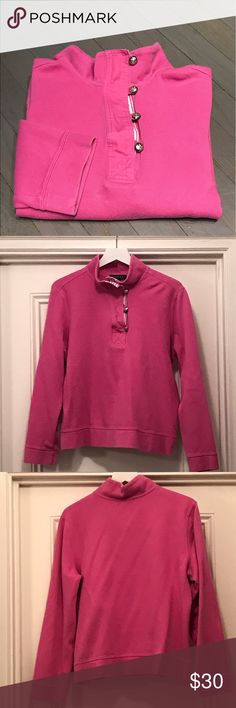 Ralph Lauren pink white gold button pullover Ralph Lauren pink white gold button 💯 cotton pullover Lauren Ralph Lauren Tops Sweatshirts & Hoodies