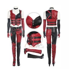 Item Number:gmarc003, Harley Quinn Costume Batman: Arkham City Cosplay Red Sexy Women Outfit Full Set On Sale! CoserCos.com offers best quality Dulex cosplay costumes.