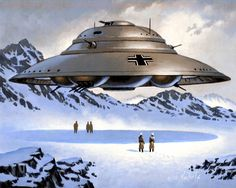 Nazi flying saucer in Antarctica Antartica Luftwaffe, Aliens And Ufos, Ancient Aliens, Atlantis, Hollow Earth, Spaceship Art, Unidentified Flying Object, Alien Art, Flying Saucer