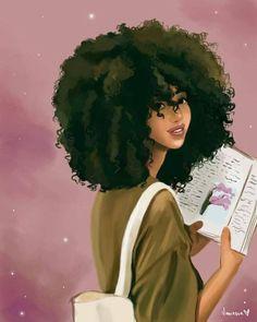 ideas for nature girl drawing black women Art Black Love, Black Girl Art, Natural Hair Art, Natural Hair Styles, Art Afro Au Naturel, Black Girl Cartoon, Black Art Pictures, Black Artwork, Black Art Painting