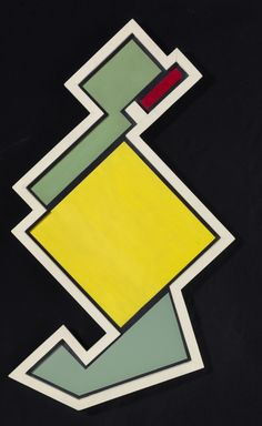 """ymutate: """" Rhod Rothfuss Composición Madí (Madí Composition) 1946 Enamel on wood 86.4 x 49.8 cm The Museum of Fine Arts, Houston. """" Arte Madi, Chevrolet Logo, Houston, Design Art, Bee, Symbols, Paintings, Colour, Abstract"""