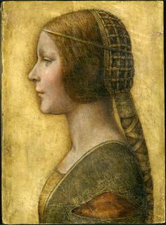 1480-1496 Italy, Milan. Portrait by Leonardo da Vinci. Thought to be of Bianca Maria Sforza or Bianca Sforza. Painting is also known as La Bella Principessa, and Profile of a Young Fiancee.