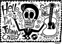 El Johnny Cash by carloshernandez on Etsy.  I love all of his Day of the Dead rock star posters.