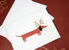 Dachshund Christmas cards. (set of 6)