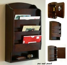 Letter-Mail-Wall-Rack-Mount-Storage-Organizer-Holder-Key-Wood-Bill-Office-Home