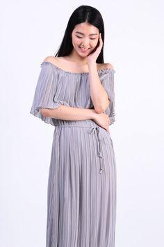 Pleated 3-Way Maxi Dress (Grey) S$ 39.00