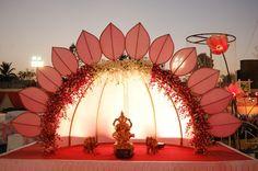 Manufacturers Exporters and Wholesale Suppliers of Lotus Theme Gate 03 Vadodara Gujarat Thali Decoration Ideas, Gate Decoration, Diy Diwali Decorations, Decoration For Ganpati, Backdrop Decorations, Desi Wedding Decor, Wedding Hall Decorations, Diy Wedding Backdrop, Wedding Reception Layout