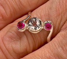 Ruby & white sapphire 3 stone Argentium handmade ring, representing.... Past, present & future.