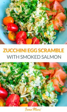 For a quick, easy and nutritious breakfast, try this egg and zucchini scramble with smoked salmon and cherry tomatoes. It's gluten-free, low-carb, keto, Whole30 and paleo-friendly.