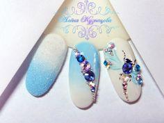 Cute and light idea Gem Nails, Aycrlic Nails, Blue Nails, Hair And Nails, Nailart, Diamond Nail Art, 3d Nail Designs, Butterfly Nail Art, Nagel Hacks