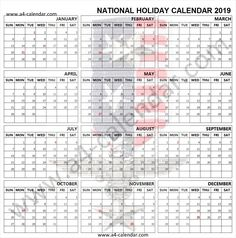 2019 holiday calendar usa
