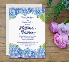Blue Hydrangea Printable Bridal Shower Invitation, 5x7 Printable Rustic Bridal Shower Invite, Vintage Watercolor Floral Bridal Shower Invite on Etsy, $10.95